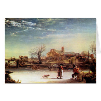 Winter Landscape by Rembrandt Harmenszoon van Rijn Stationery Note Card