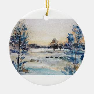 Winter Landscape Ceramic Ornament