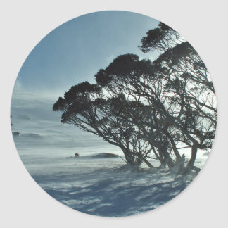 Winter Landscape Classic Round Sticker