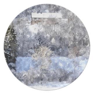 Winter landscape - created by Jean Louis Glineur Melamine Plate