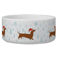Winter landscape dachshund silhouette pet bowl