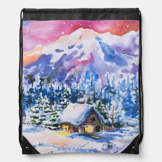 Winter landscape drawstring backpack