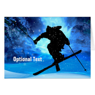 Winter Landscape & Freestyle Skier - Customizable Card