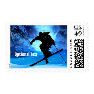 Winter Landscape & Freestyle Skier - Customizable Postage