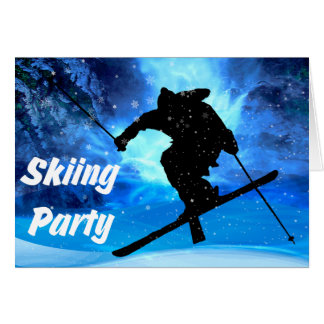 Winter Landscape & Freestyle Skier Party Card