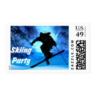 Winter Landscape & Freestyle Skier Party Postage