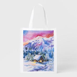 Winter landscape grocery bag