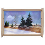 Winter Landscape in Oil Pastel, Snow, Pines Food Trays