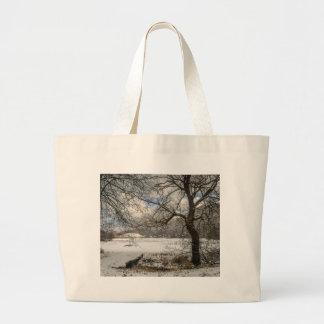 Winter landscape large tote bag