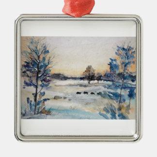 Winter Landscape Metal Ornament