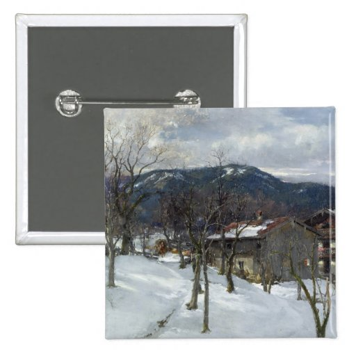 Winter landscape near Kutterling, 1899 Pinback Button