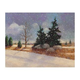 Winter Landscape, Oil Pastel Painting, Snow Wood Canvas