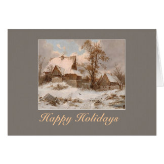 winter landscape painting holidays greeting card