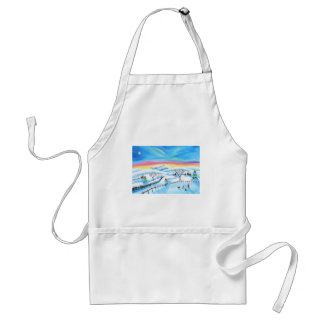 winter landscape painting Northern lights Adult Apron