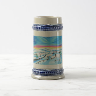 winter landscape painting Northern lights Beer Stein
