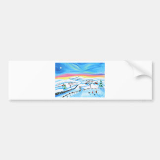 winter landscape painting Northern lights Bumper Sticker