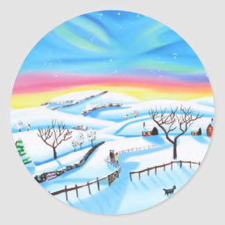 winter landscape painting Northern lights Classic Round Sticker