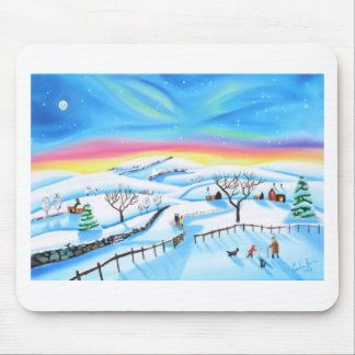 winter landscape painting Northern lights Mouse Pad