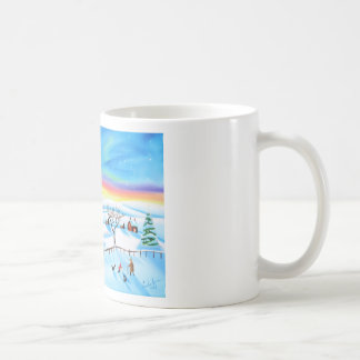 winter landscape painting Northern lights Mugs