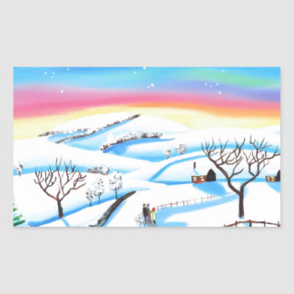 winter landscape painting Northern lights Rectangular Sticker