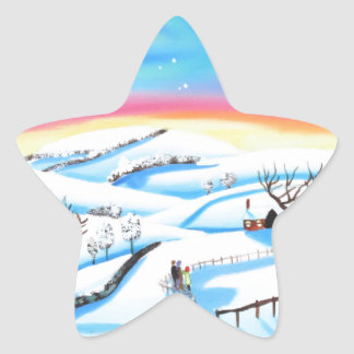 winter landscape painting Northern lights Star Sticker