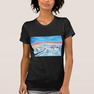 winter landscape painting Northern lights T-Shirt