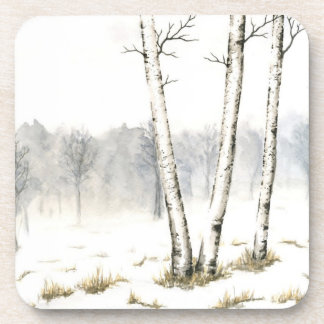 Winter Landscape Plastic Coaster