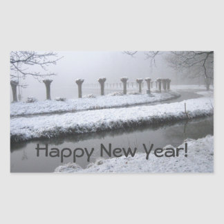 Winter landscape rectangular sticker