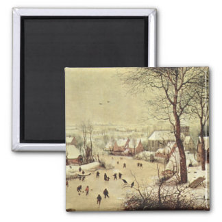 Winter Landscape with a Bird Trap - 1565 2 Inch Square Magnet