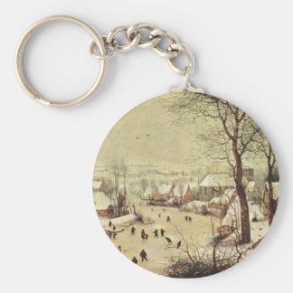 Winter Landscape with a Bird Trap - 1565 Basic Round Button Keychain