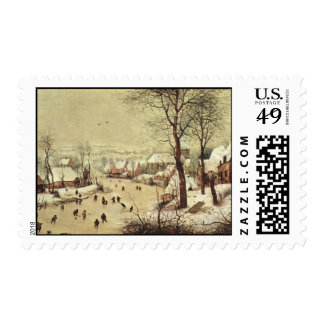 Winter Landscape with a Bird Trap - 1565 Stamp