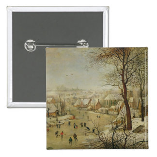 Winter Landscape with Bird Trap (oil on panel) 2 Inch Square Button