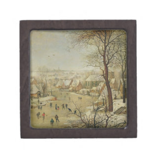 Winter Landscape with Bird Trap (oil on panel) Gift Box