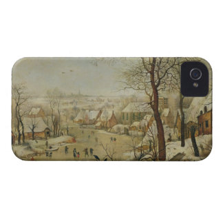 Winter Landscape with Bird Trap (oil on panel) iPhone 4 Case-Mate Case