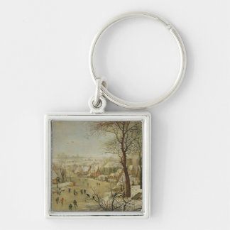 Winter Landscape with Bird Trap (oil on panel) Keychain