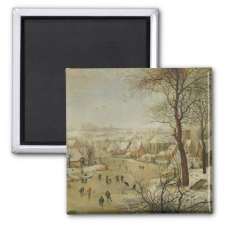 Winter Landscape with Bird Trap (oil on panel) Magnet