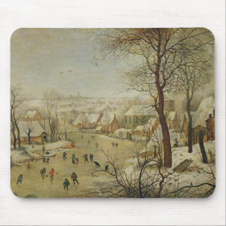 Winter Landscape with Bird Trap (oil on panel) Mouse Pad