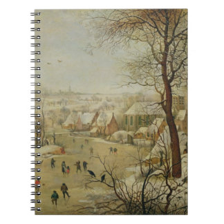 Winter Landscape with Bird Trap (oil on panel) Notebook
