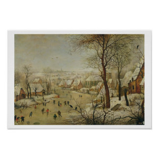 Winter Landscape with Bird Trap (oil on panel) Poster