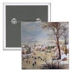 Winter Landscape with Birdtrap, 1601 2 Inch Square Button