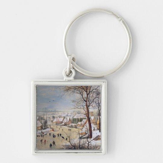 Winter Landscape with Birdtrap, 1601 Keychain