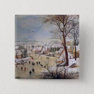 Winter Landscape with Birdtrap, 1601 Pinback Button