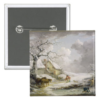 Winter Landscape with Men Snowballing an Old Woman 2 Inch Square Button