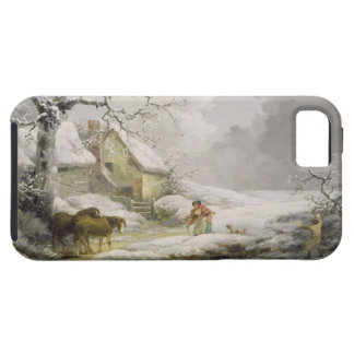 Winter Landscape with Men Snowballing an Old Woman iPhone 5 Case