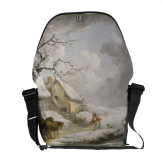 Winter Landscape with Men Snowballing an Old Woman Courier Bag