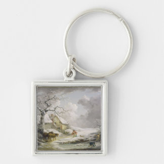 Winter Landscape with Men Snowballing an Old Woman Keychain