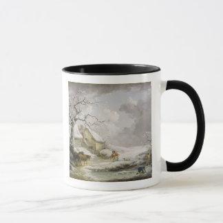 Winter Landscape with Men Snowballing an Old Woman Mug