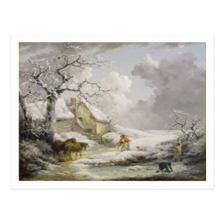 Winter Landscape with Men Snowballing an Old Woman Postcard