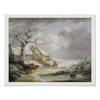 Winter Landscape with Men Snowballing an Old Woman Print