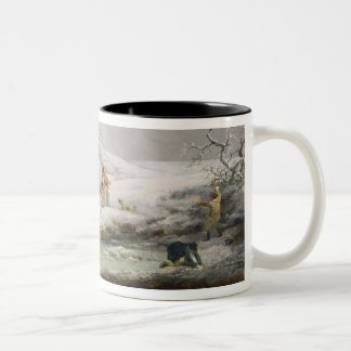 Winter Landscape with Men Snowballing an Old Woman Two-Tone Coffee Mug